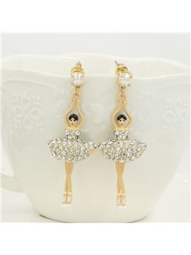 Fabulous Ballet Dancer with Shining Dress Design Pendant Earrings