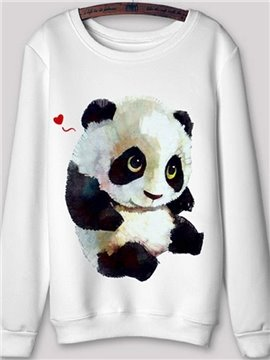 Lovely Long Sleeve Panda Pattern White Printed Hoodie