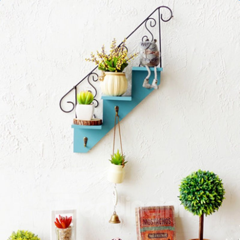 Creative Simple Style Red and Blue Stair Shape Home Decorative Wall Shelves