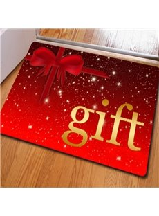 Red Rectangle Simple Style Gift Pattern Christmas Decoration Non Slip Doormat