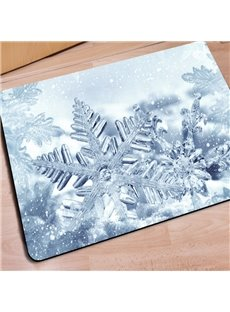 White Rectangle Snowflake Pattern Christmas Decoration Non Slip Doormat