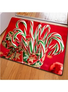 Red Rectangle Cute Candy Pattern Christmas Decorative Non Slip Doormat