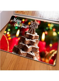 Fancy Rectangle Christmas Decorative Cake Pattern Indoor Non Slip Doormat