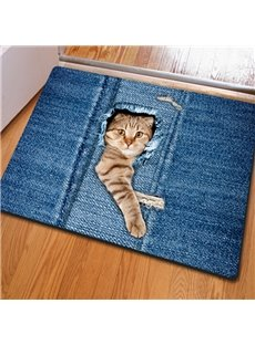 Amusing Rectangle Cute Cat Pattern Home Decorative Non Slip Doormat