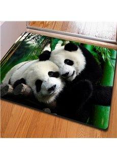 Special Design Rectangle Two Cute Pandas Print Non Slip Doormat