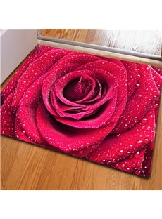Splendid Rectangle Fresh Roses Print Christmas Decoration Non Slip Doormat