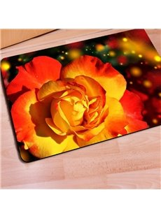 Sparkling Rectangle Flower Pattern Christmas Decorative Non Slip Doormat