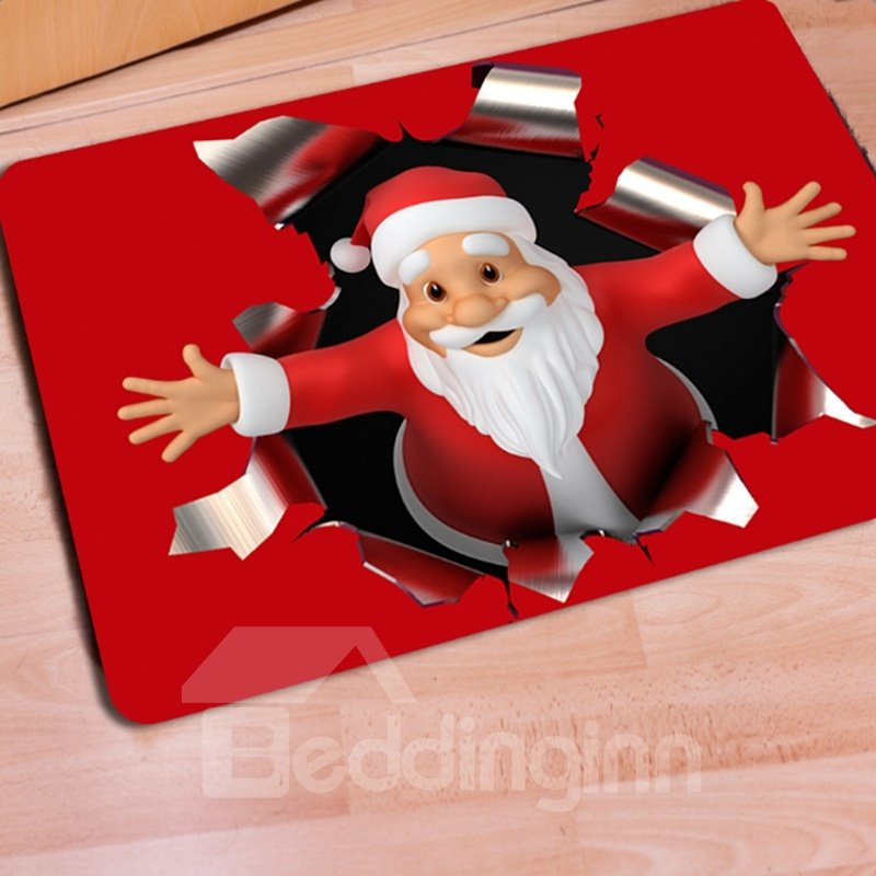 Red Rectangle Warm Santa Claus Print Christmas Decoration Doormat 12689989
