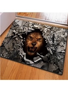 Vivid Rectangle Broken Stone and Lion Pattern Non Slip Decorative Doormat