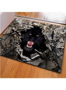 Awesome Rectangle Broken Stone and Black Leopard Pattern Non Slip Doormat