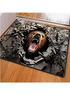 Fearsome Rectangle Broken Stone and Bear Pattern Non Slip Doormat
