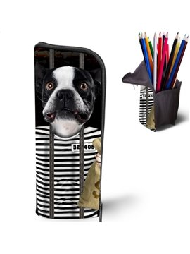 Modern Creative Cute Dog Pattern Fabric Large-volume Pen Holder Desktop Decoration