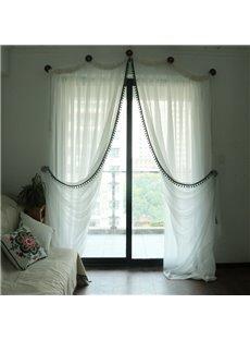 Romantic White Linen and Cotton Blending Custom Sheer Curtain for Living Room & Bedding Room