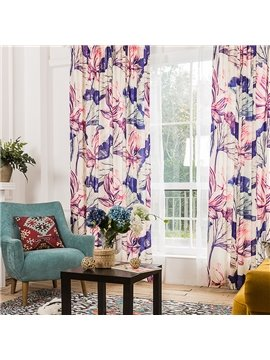Dreamy Pink and Purple Flower Printing Window Decoration Custom Curtain