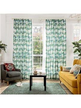 Green Leaf Printing Window Decoration Custom Curtain