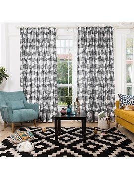 Black and White Stripes Printing Window Decoration Custom Curtain