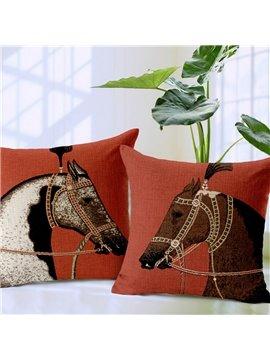 Retro Style Horse Print Decorative Throw Pillow