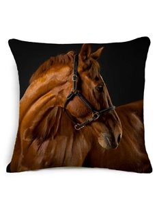 3D Brown Horse Printed Square Throw Pillow