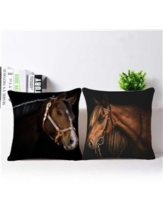 Lifelike Brown Horse 3D Printed Throw Pillow