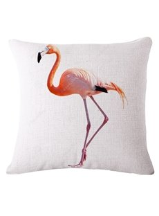 Simple Pink Flamingo Print White Throw Pillow