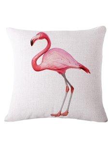 Stylish Pink Flamingo 3D Printed White Throw Pillow