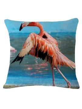 Flamingo Taking off Print Square Throw Pillow