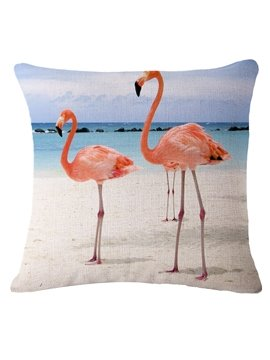 Popular Two Pink Flamingos by the Sea Print Throw Pillow