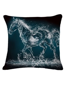 Stunning Water Horse Print Square Throw Pillow