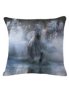 Amazing Horses Running and Splashing through Water Print Throw Pillow