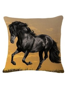 Lifelike 3D Black Horse Print Throw Pillow
