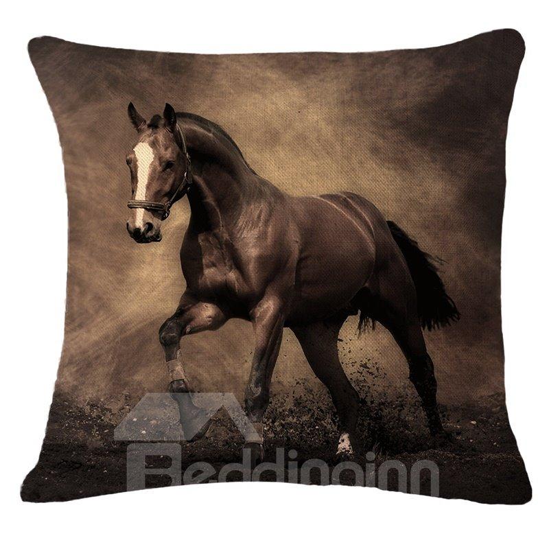 Stunning 3d Brown Horse Print Throw Pillow Beddinginn Com