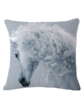Beautiful 3D White Horse Print Throw Pillow