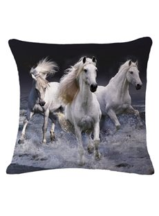 Photographic 3D Three White Horses Printed Throw Pillow