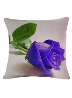 Elegant 3D Purple Rose Printed Throw Pillow