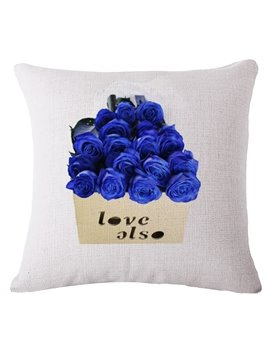 Romantic Blue Rose Print Decorative Throw Pillow