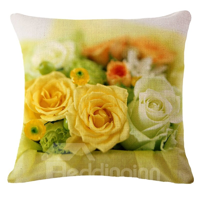 Sweet Yellow Rose Print Square Throw Pillow