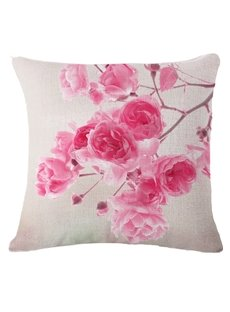 Beautiful Pink Flower Print Square Throw Pillow