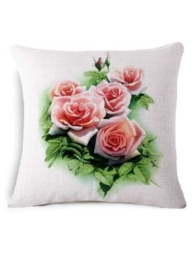 Adorable Pink Rose Print Square Throw Pillow