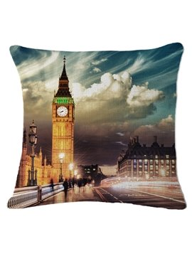 Big Ben at Night Print Square Throw Pillow