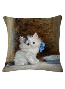 Lovely Exotic White Kitty Print Square Throw Pillow