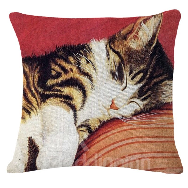 Kitty Throw Pillow : Adorable Sleeping Kitty Print Square Throw Pillow - beddinginn.com