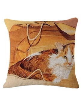 Longhair Cinnamon and White Kitten Print Throw Pillow