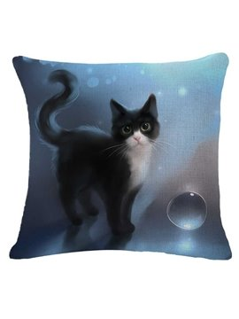 Dreamy Black and White Kitty Print Throw Pillow