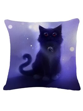 Halloween Black Kitty Print Square Throw Pillow