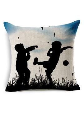 Silhouette of Children Playing Outside in the Grass Print Throw Pillow