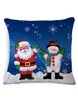 Cute Santa Claus and Christmas Snowman Print Blue Throw Pillow