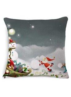 Joyful Santa Claus and Christmas Snowman Print Throw Pillow