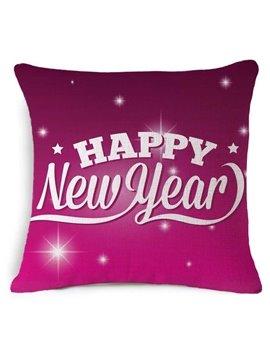 Typography Happy New Year Print Burgundy Throw Pillow