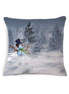 Likable Christmas Snowman Print Square Throw Pillow