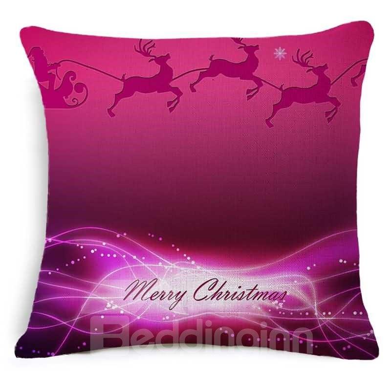 Burgundy Print Throw Pillows : Merry Christmas Reindeer Print Burgundy Throw Pillow - beddinginn.com